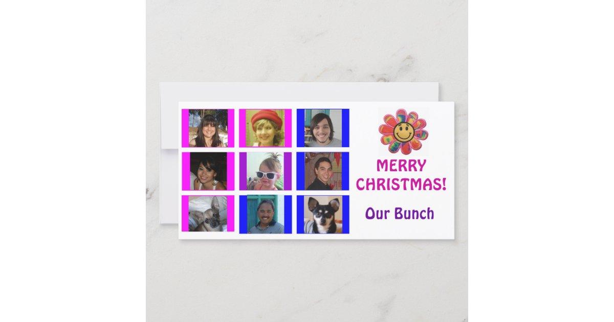Brady Bunch Style Grid Birthday Christmas Card | Zazzle.com