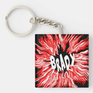 Brady Name Star in Red Double-Sided Square Acrylic Keychain