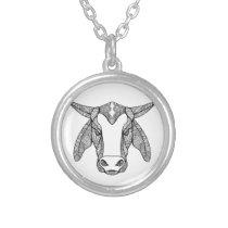 Brahma Bull Head Mandala Silver Plated Necklace