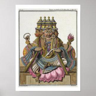 Brahma, dios hindú de la creación, del 'viaje aux. póster