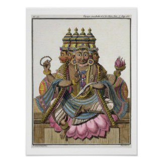 Brahma, Hindu god of creation, from 'Voyage aux In Poster