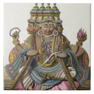 Brahma, Hindu god of creation, from 'Voyage aux In Tile