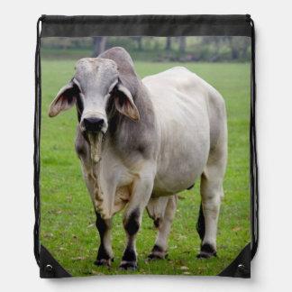 Brahman (aka. Brahma) Bull in Field Drawstring Backpack