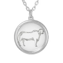 Brahman Bull Side Doodle Side Silver Plated Necklace