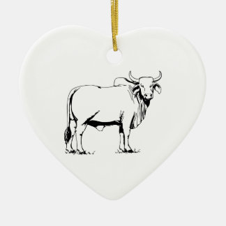 Brahman Cow Ceramic Ornament