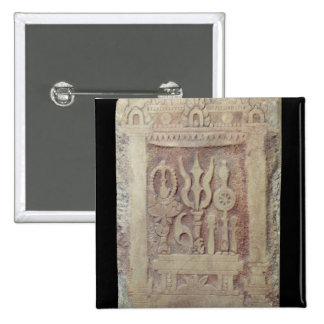 Brahman stele depicting the Trimurti 2 Inch Square Button