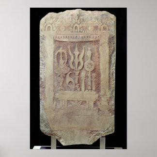 Brahman stele depicting the Trimurti Poster