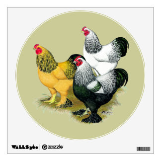 Brahmas Three Roosters Wall Decal