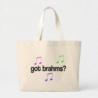 Brahms conseguido divertido diseño colorido bolsa de tela grande