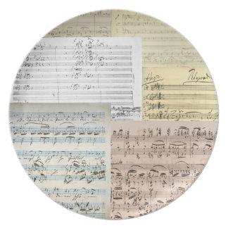 Brahms Manuscript Medley Melamine Plate