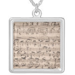 Brahms Manuscript Square Pendant Necklace