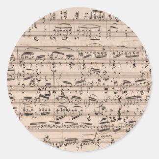 Brahms Theme and Variations Music Manuscript Classic Round Sticker