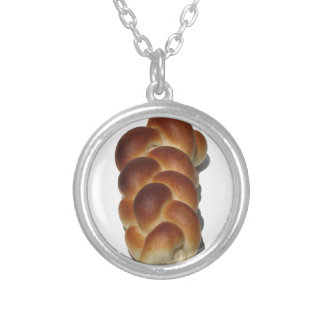 Braided Bread Round Pendant Necklace