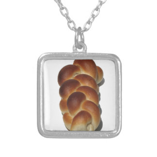 Braided Bread Square Pendant Necklace