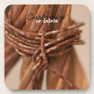 Braided Chain with Rusted Wire; Customizable Beverage Coaster