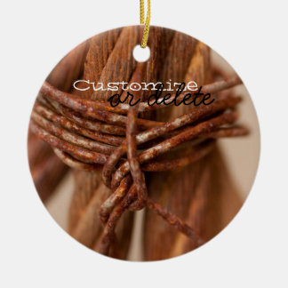Braided Chain with Rusted Wire; Customizable Ceramic Ornament