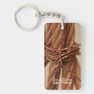 Braided Chain with Rusted Wire; Customizable Single-Sided Rectangular Acrylic Keychain