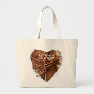 Braided Chain with Rusted Wire; Customizable Large Tote Bag