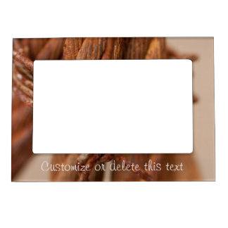 Braided Chain with Rusted Wire; Customizable Magnetic Photo Frame