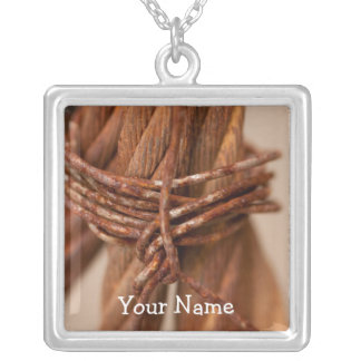 Braided Chain with Rusted Wire; Customizable Square Pendant Necklace