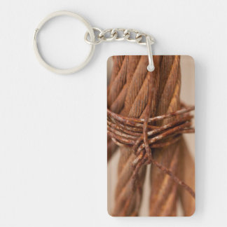 Braided Chain with Rusted Wire Single-Sided Rectangular Acrylic Keychain