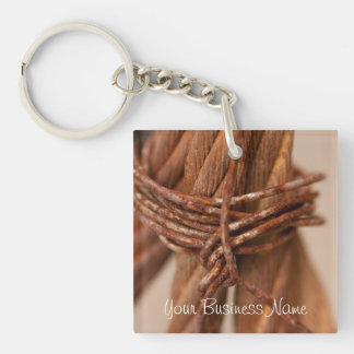 Braided Chain with Rusted Wire; Promotional Single-Sided Square Acrylic Keychain