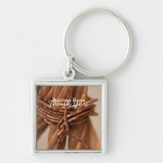 Braided Chain with Rusted Wire; Promotional Silver-Colored Square Keychain