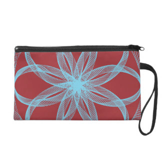 Braided Guilloche Pattern Red Blue Wristlet