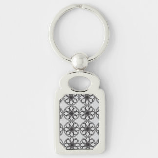 Braided Guilloche Patterns Black Silver-Colored Rectangular Metal Keychain
