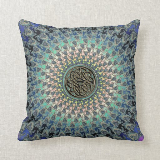 Braided Rug Fractal With Metallic Celtic Knot Throw Pillow