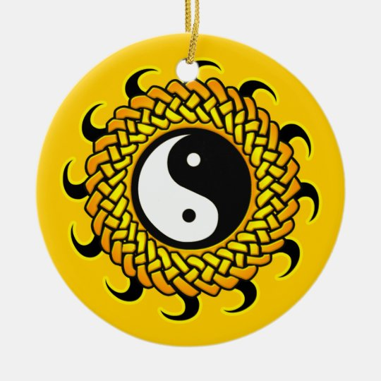 Braided Yin Yang Sun Ornament