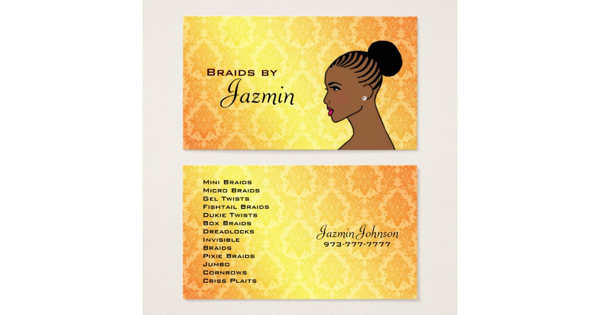 Braids business cards zazzlecom for Braiding business cards