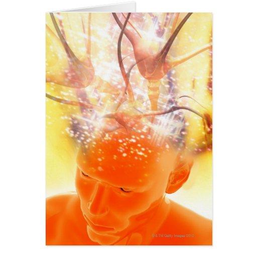 Brain activity, conceptual computer artwork. greeting card