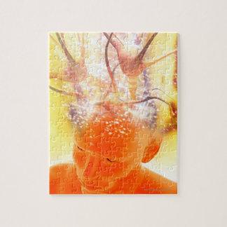 Brain activity, conceptual computer artwork. jigsaw puzzle
