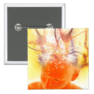 Brain Activity, Conceptual Computer Artwork Pinback Button