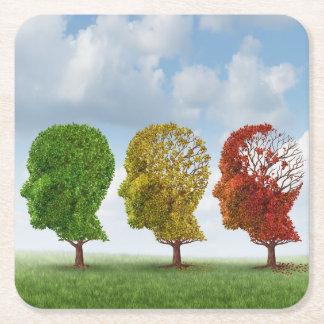 Brain Aging Square Paper Coaster