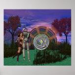 Brain Alien Cyborg holding Beautiful Alien Girl Posters