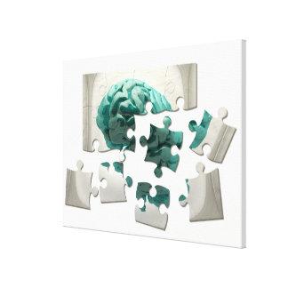 Brain analysis, conceptual computer artwork. canvas print