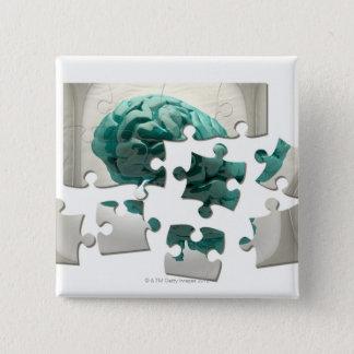 Brain analysis, conceptual computer artwork. pinback button