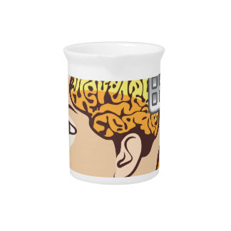 Brain and Calculator Beverage Pitcher