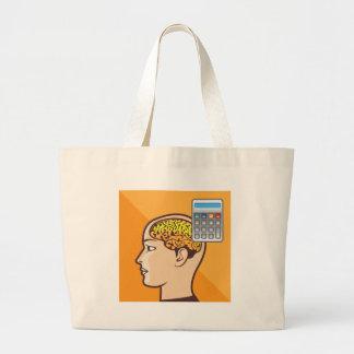 Brain and Calculator Large Tote Bag