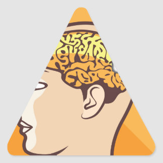 Brain and Calculator Triangle Sticker