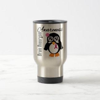 Brain Aneurysm Awareness Penguin 15 Oz Stainless Steel Travel Mug