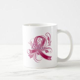 Brain Aneurysm Believe Flourish Ribbon Classic White Coffee Mug