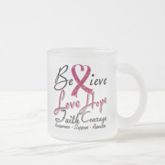 Brain Aneurysm Believe Heart Collage 10 Oz Frosted Glass Coffee Mug