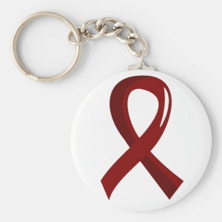 Brain Aneurysm Burgundy Ribbon 3 Basic Round Button Keychain