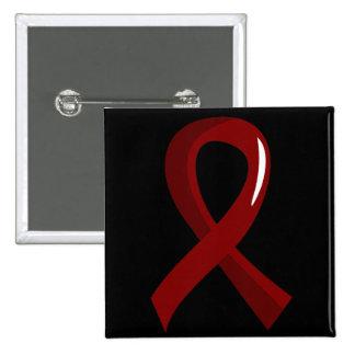 Brain Aneurysm Burgundy Ribbon 3 Pinback Button