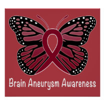 Brain Aneurysm Butterfly Awareness Ribbon Poster