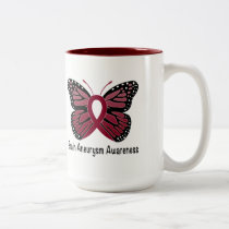 Brain Aneurysm Butterfly Awareness Ribbon Two-Tone Coffee Mug