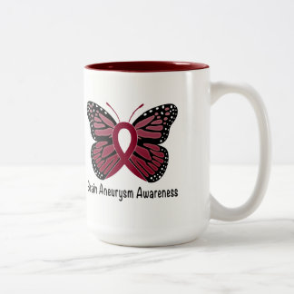 Brain Aneurysm Butterfly Awareness Ribbon Two-Tone Coffee Mug